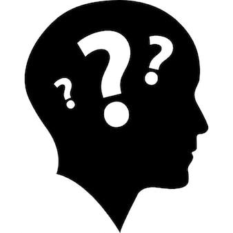 łysy widok z boku głowy z trzema znakami zapytania