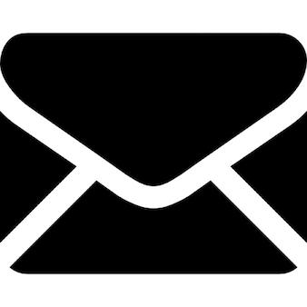 Czarny kształt zamkniętej kopercie z powrotem