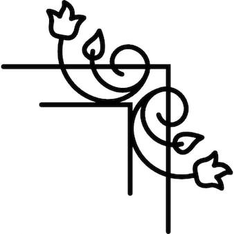 Kwiatów i liści winorośli właściwej granicy