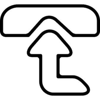 Telefon z góry widok z góry strzałka symbol, aby odebrać połączenie