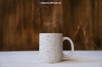 Śniadanie mockup z kubkiem kawy