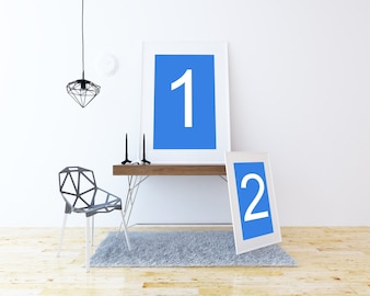 2 ramki na stoliku makieta