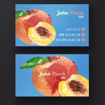 Akwarela brzoskwini szablon wizytówka