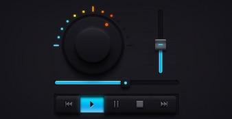 Ciemny dźwięk ui muzyki elementy player