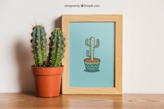 Mockup rama z kaktusem