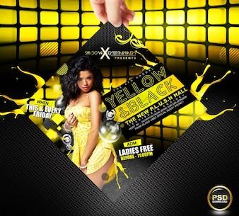 Szablon żółty Party Flyer