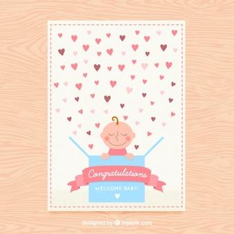 Ładna karta baby shower z sercem