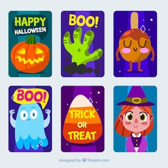 Ładne karty halloween pakiet