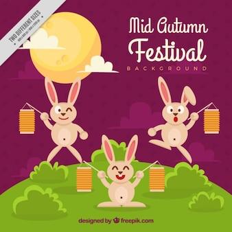 Ładne tło festiwalu połowy jesieni z króliczkami