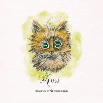 Ładny kot akwarela