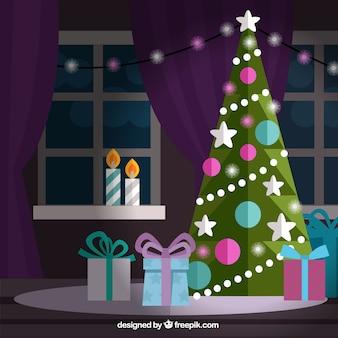 ładne Boże Narodzenie salon w płaskiej konstrukcji