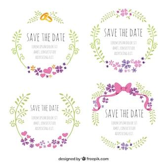 Śliczne ślubne etykiety z pierścieniami i łukiem