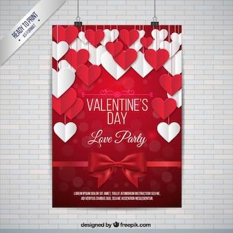 Śliczne białe i czerwone serca Valentine plakat