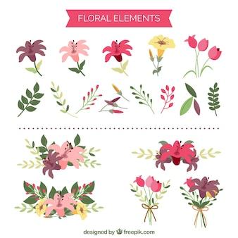 Śliczne elementy kwiatowe