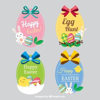Śliczne naklejki z Happy Easter kokardkami