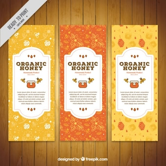 Śliczne organiczne banery miód