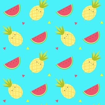 Śliczne owoce ananasów bez szwu pattern.fruits szablon wektora tła.