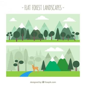 Śliczne płaskie leśne krajobrazy
