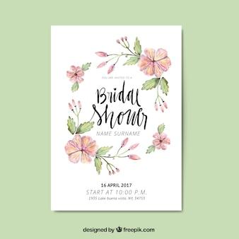 Śliczne panieński zaproszenie z kwiatami Akwarele