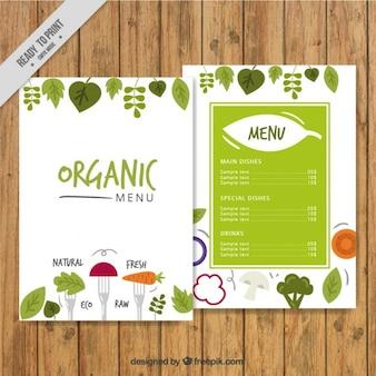 Śliczne ręcznie rysowane menu organiczny
