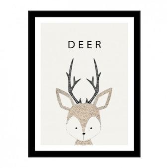 Śliczne ręcznie rysowane wzór jelenia