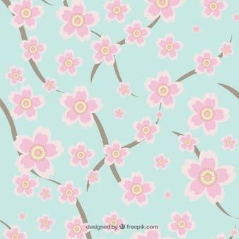 Śliczne różowe kwiaty wzór