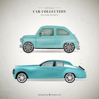 Śliczne rocznika jasnoniebieskie samochody