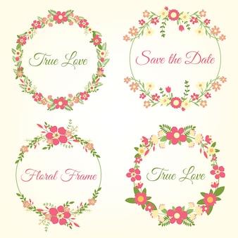 Ślub ręcznie narysować ramki kwiatów