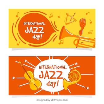 Śmieszne banery jazz z instrumentami muzycznymi