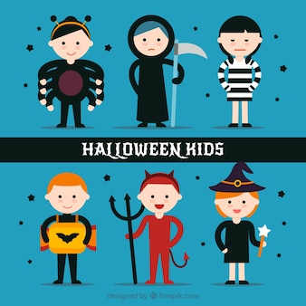 Śmieszne dzieci z halloween kostiumy w stylu płaskiej
