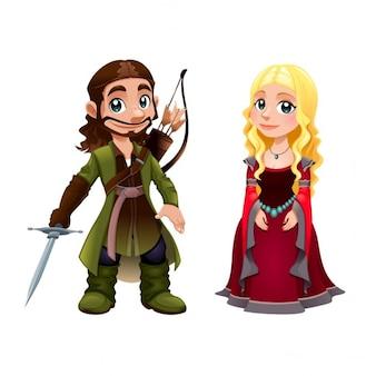 Średniowieczny rycerz i księżniczka Para Wektor cartoon odizolowane znaków