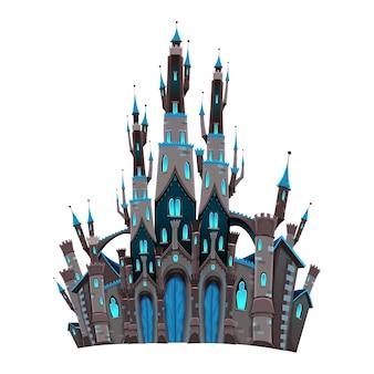 Średniowieczny zamek fantasy Zamek Cartoon i wektorowe odizolowane obiektu
