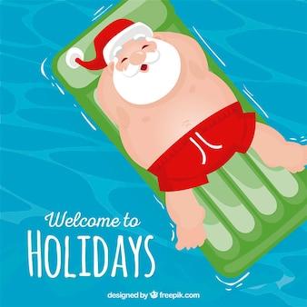 Święty Mikołaj na wakacjach ilustracji