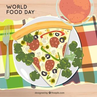Świat żywności dzień tła z pizzy