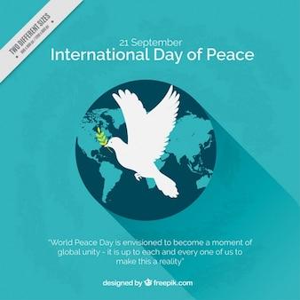 Świat w tle z symbolem pokoju