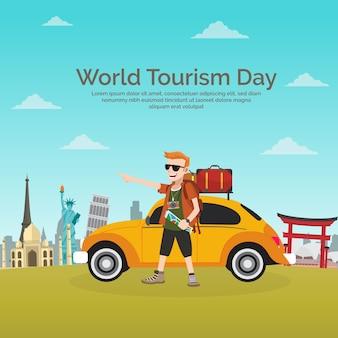 Światowy dzień turystyczny, gentleman podróżujący w żółtym samochodzie