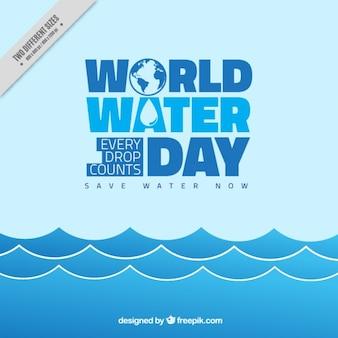 Światowy Dzień Wody niebieskim tle fal