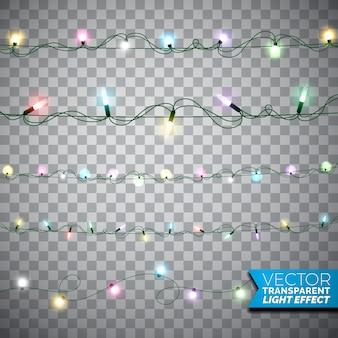 Świecące choinki światła realistyczne pojedyncze elementy projektu na przejrzystym tle. Dekoracje choinkowe dla świątecznej karty okolicznościowej.