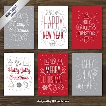 Świt ręka szary i czerwony kartki świąteczne kolekcji