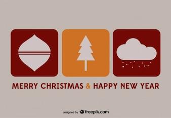 święta i nowy rok wektor pocztówka
