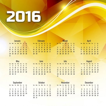 Żółty falista 2016 kalendarz