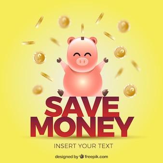Żółty piggy z banknotów monety tła