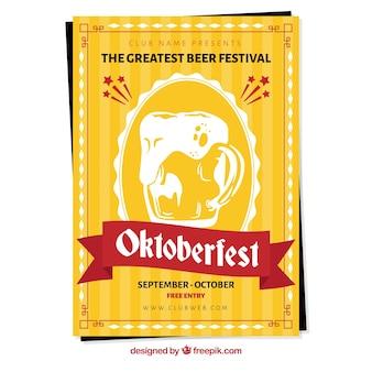Żółty plakat na oktoberfest