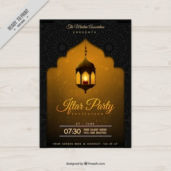 Żółty ramadan party plakat