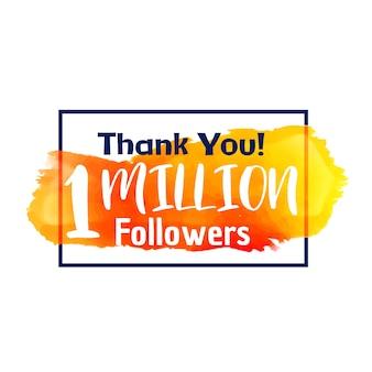 1 milion zwolenników sukcesu dziękuję za sieć społeczną