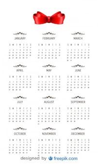 2014 czerwona wstążka z kalendarza