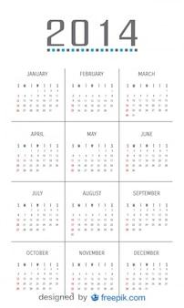 2014 kalendarz z minimalistycznym wystrojem