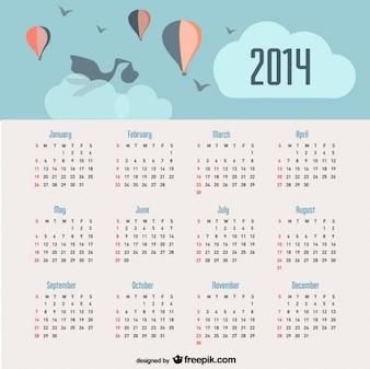 2014 kalendarz zawiadomienie o narodzinach dziecka i balonów na niebie