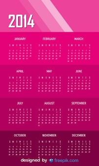 2014 różowy kalendarz