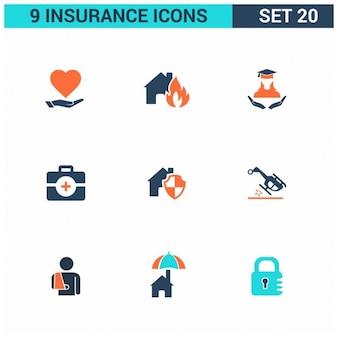 9 Ubezpieczenia Płaski zestaw ikon